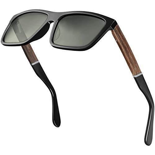 Balinco® polarisierte Sonnenbrille (Handmade) mit rechteckigen Gläsern & Bambusbügeln - für Damen & Herren geeignet - schützt vor UV-Strahlen oder Reflexionen - im praktischen Zubehör-Set