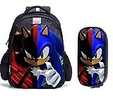 Mochila escolar Sonic cartoon 2 unids/set de mochilas escolares con estampado de...