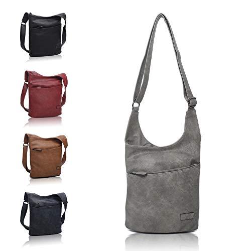 CASAdiNOVA ® Damen Umhängetasche Grau - Schultertasche - Damenhandtasche - Handtasche - Crossbody - Messenger Bag - Shopper Tasche - premium Tote