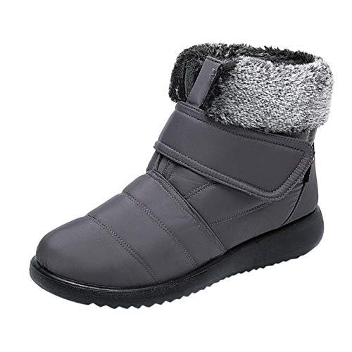 Botas de Nieve Botas Cortas Botas de algodón de Invierno más Botas de Mujer cálidas de Terciopelo Camperas Verano Cortas clásicas en Negro Marca Moteras Ancha