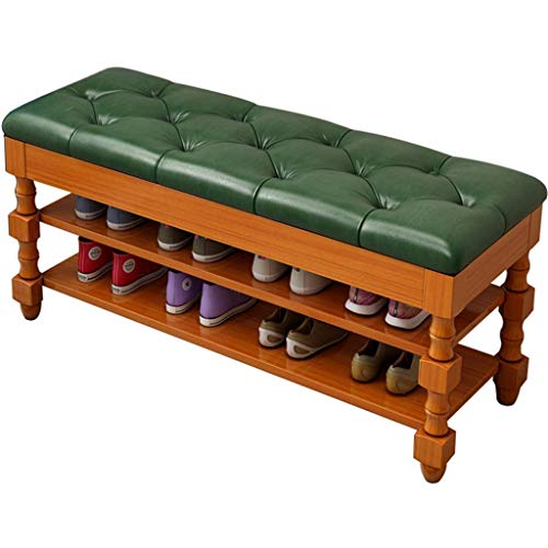 American Retro Double Layer Cushion Bench Shoe Rack,Solid Wood Shoe Changing Stool for Home Use,Multifunctional Bedroom Entrance Stool