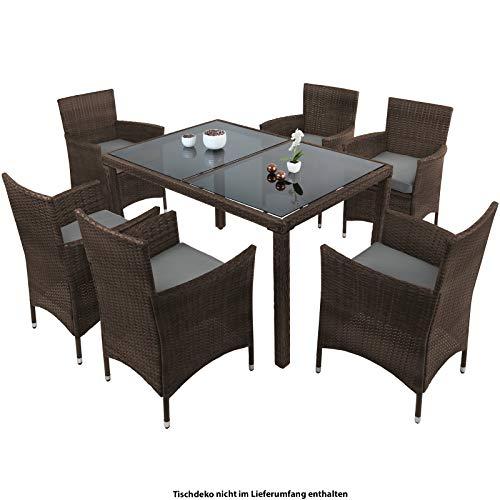 Montafox 13-teilige Polyrattan Essgruppe 6 Personen Tisch Stühle Auflagen Bezüge Sitzgruppe Terasse Esszimmer, Farbe:Schwarz-Braun meliert/Kieselstrand