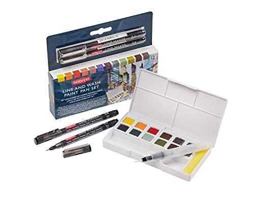 Derwent Line & Wash Paint Set, Professional Quality, Fine Line Pens, Inktense Colors, Art Supplies for Adults, Portable, Travel Set Includes 12 Paint Pans, 2 Line Makers, Mixing Palettes, Sponge
