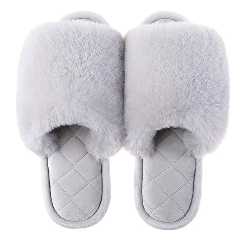 Twnhmj Zapatillas de Banda Cruzada para Mujer Zapatillas de Felpa Piel sintética mullida Sandalias casa con Punta Abierta acogedoras Diapositivas Planas peludas,Gris,37