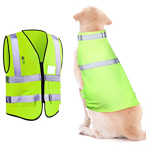 Skiing Reflective Dog Safety Vest Human Pockets Safety Vest for Running, Cycling Walking in Night Roads, Snow, Woods (Large)