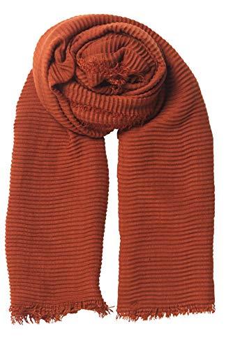 Becksöndergaard Schal Damen Asta Povi Scarf Rot (Picante) - Weiches Tuch mit Fransenkante und plissiterter Struktur - Größe 120 x 200 cm - 1900749001-141