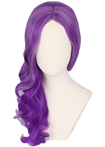 Chtom Peluca púrpura para niños niño largo rizado disfraz Pelucas Cosplay Spectra Vondergeist peluca Mal peluca