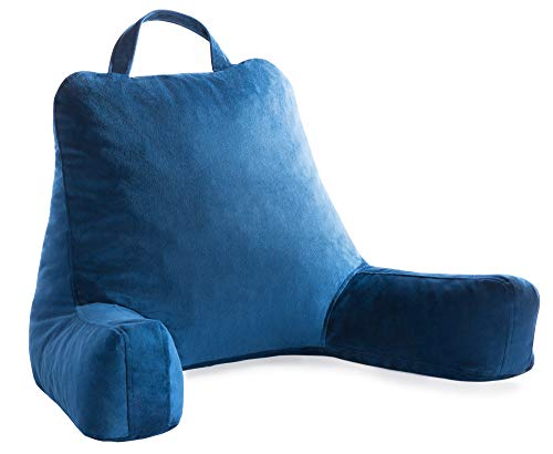 Linenspa Shredded Foam Reading Pillow - Perfect for Back Support While Relaxing, Gaming, Reading, or Watching TV - Soft Velour Cover