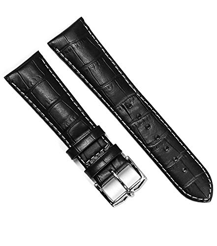 Rotary Uhrenarmband aus echtem Leder, 22 mm, schwarzes Krokodilleder mit weißen Nähten, für Herren – SP0050370