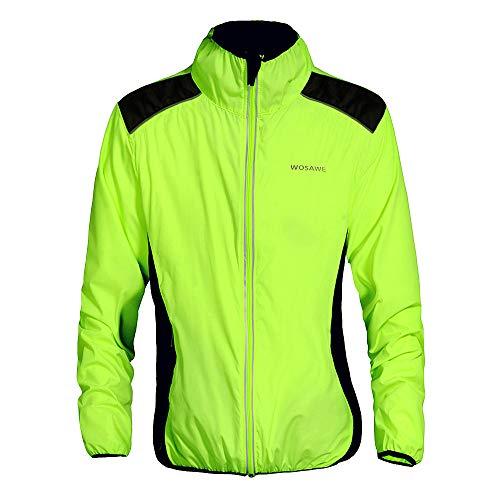 WOSAWE Giacca da Ciclismo Antivento da Uomo Leggera e Traspirante Equitazione Abbigliamento Maniche Lunghe Biciclette Vento Cappotto (BC240-Verde XXL)