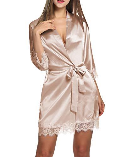 BeautyUU Damen Morgenmantel Kimono Bademantel Satin Nachthemd Nachtwäsche Schlafanzüge Mit Blumenspitze, Champagner, L