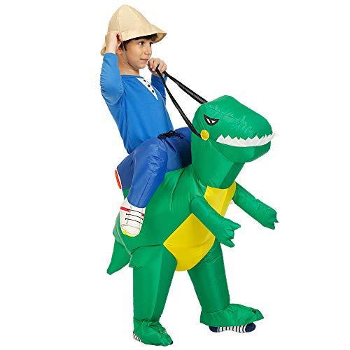 Leezo Disfraz de dinosaurio inflable, para fiesta de dinosaurio estreo inflable para adultos (150-190 cm)