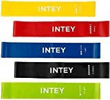 INTEY Exercise Bands for Legs and Butt, Set of 5 Resistance Loop Bands for Workout Exercise, Stretching, Strength Training, Physical Therapy, Yoga, Rehab with Guide, Carry Bag