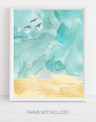 Abstract Teal Blue Ocean Beach Watercolor Wall Art. 11x14 UNFRAMED Print. Contemporary Modern Wall Decor. Shades of Teal Blue, Tan.