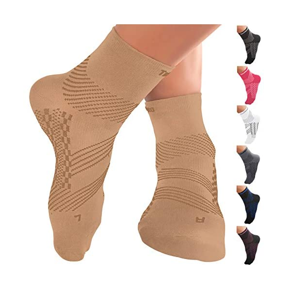 TechWare Pro Ankle Compression Socks-Plantar Fasciitis Sock & Foot Support. Achilles Tendonitis Brace & Arch Support for Heel Pain Relief. Injury Recovery & Prevention. Men & Women 1 Pair
