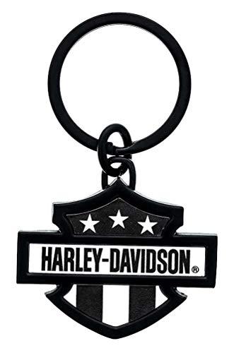Harley-Davidson 3D Bar & Shield Flag Key Chain, 3 inch - Black & White