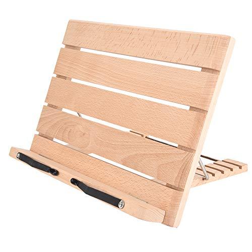 Josopa Notenständer aus Holz, faltbar, Lesegeschwindigkeitshalter mit Papierklammern, 5 Stufen Höhenverstellung, für Lehrbuch, Rezepte, Zeitschriften, Laptop, Tablet