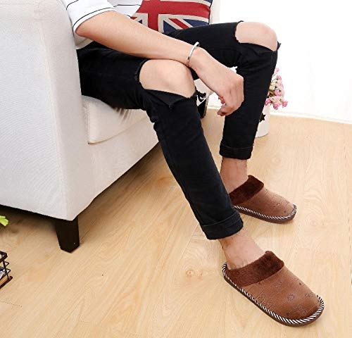 Ririhong Zapatillas de algodón de Primavera, Verano y otoño, Zapatillas de Suelo para el hogar para Hombre, Zapatillas Antideslizantes para Interiores de Gran tamaño para Mujer-Brown_39-40