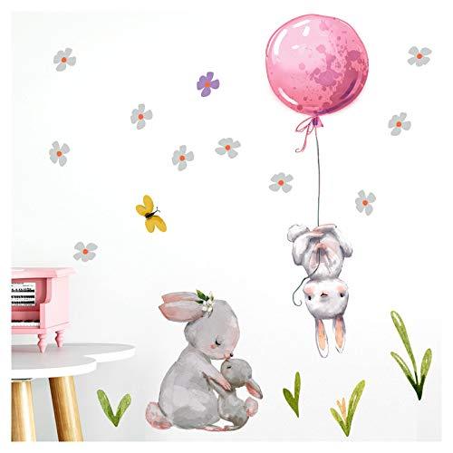 Little Deco Adhesivo decorativo para habitación de bebé, conejos con globo, color rosa, M – 103 x 103 cm (ancho x alto), diseño de flores, imágenes para habitación infantil o niña, DL238