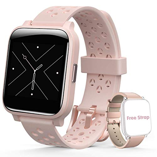 Smartwatch Reloj Inteligente Mujer, Hommie Pulsera Actividad 17Modos Deportes,Relojes Inteligentes 1.3' Pantalla Táctil Completa con IP67 Nadar,Ritmo Cardíaco,Sueño,Caloría,Control de Cámara,2 Correas