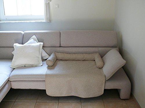 Artur Soja Mila Schlafplatz Hundebett Couch Sesselschutz Sofaschutz Alcantara Größen: S-XL (L/XL - 110x110cm, Hellbeige)