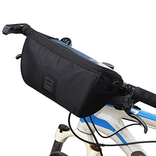 Bolsa impermeable multifunción de la bicicleta delantera del tubo de la bolsa impermeable del manillar de la bicicleta de la cesta de la cesta de ciclismo delantera caja de herramientas, negro