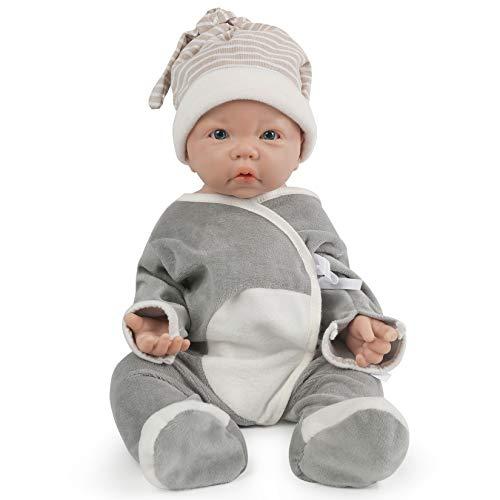 Vollence 43cm Muñeca Bebé de Silicona Cuerpo Entero,no Son Muñecas de Vinilo, Muñecas Reales Silicona de bebé, Muñeco bebé Realista de Silicona,Bebe Reborn Silicona Muñecos - Niño