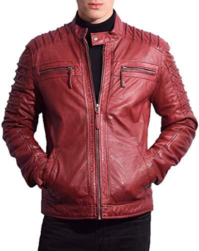 RICANO 12815, Herren Lederjacke/Bikerjacke aus echtem Lamm Nappa Leder (Glattleder) in schwarz, Cognac braun oder Bordeaux rot (Bordeaux Rot, XL)