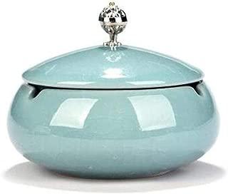 GAOTING Ashtray/cigarette ashtray alloy (Color : Blue, Size : 13 * 13 * 10cm)