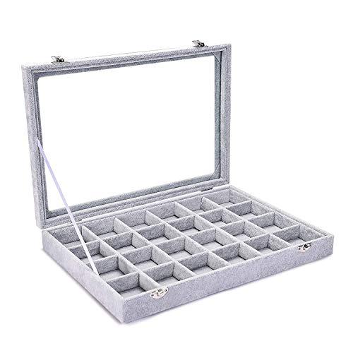 WHXJ Schmucklade Transparenter Deckel mit Verschluß, 24 Fächer Schmuck Aufbewahrungssystem Samt Aufbewahrungsbox mit fächern, Zum Ketten, Ohrringe, Ringe Schmuckkasten(20 * 15 * 5 cm) 24 Grid