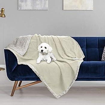 Pawsse Couverture pour chien imperméable et lavable en peluche et antidérapant - Avec super doux Sherpa - Pour chien, chiot, chat, intérieur et extérieur - 150 x 120 cm