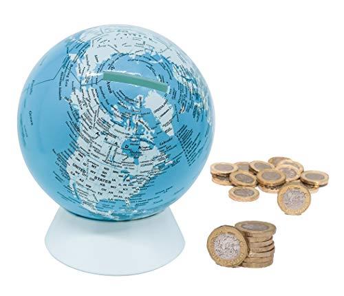Exerz Huchas Globo Diámetro 13 CM/Caja De Dinero Alcancía, Aspecto Metal Contemporáneo -Mapa de Ingles - Mapa Destacado Físico, Educativo, Decorativo. Escuela, Hogar, Oficina Y Regalos - Azul