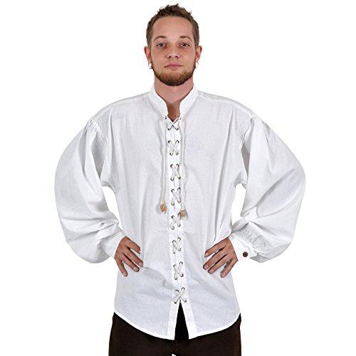Jeu de rôle GN - Chemise médiévale Artur, blanche - L