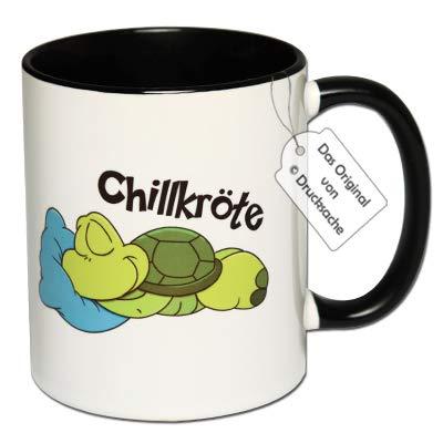 CR Photography Tolle Tasse mit Motiv Chillkröte Tasse mit Aufdruck, Kaffeetasse, Witzige Tasse (A: Schwarz-Weiß)