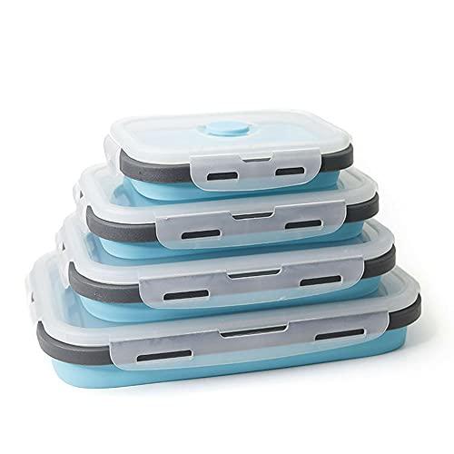 Fiambreras Silicona plegables, Recipientes de Silicona Plegable,Fiambrera de Silicona Juego,Silicona Recipientes para Alimentos, Aptas para Microondas, Congelador y Lavavajillas(azul)