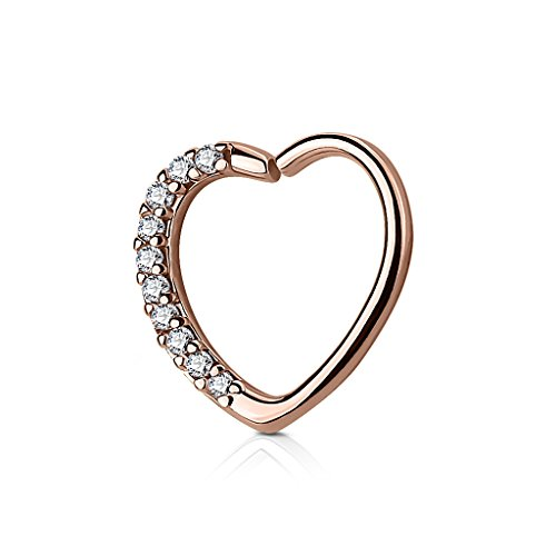 Kultpiercing - Helix Piercing - Herz mit Kristallen - Tragus Septum Ear Cartilage Ohrpiercing Daith Hoop Ring - Rose Gold