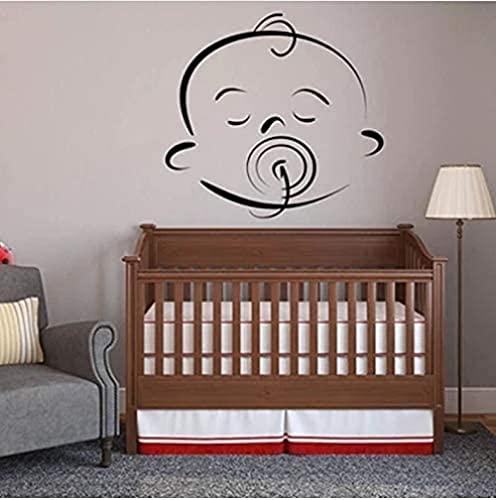 Pegatina de pared de bebé belleza cara de dibujos animados lindo vinilo ventana calcomanía bebé habitación dormitorio dormitorio decoración removible arte mural 60x57cm