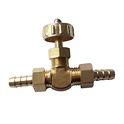 Fincos 8mm ID Hose Barb Brass Needle Valve for Gas Max Pressure 0.8 Mpa NV4-8 from Fincos