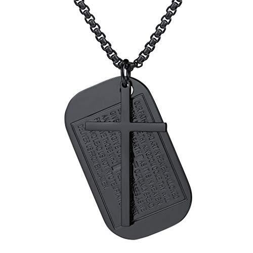 FaithHeart Edelstahl Vaterunser Kreuz Anhänger Halskette für Herren Rechteckig Hundemarke Kapitel Amulett Jesus-Kreuz Heiligers Schmuck…