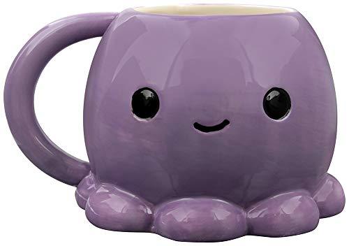 Grindstore Cute Octopus Moulded Mug for Tea or Coffee Purple