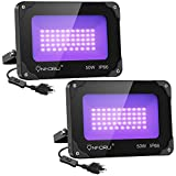 Onforu 2 Pack 60W UV LED Black Light Flood Light with Plug(5ft Cable), IP66 Waterproof, for Blacklight Party, Stage Lighting, Aquarium, Body Paint, Fluorescent Poster, Neon Glow, Glow in The Dark led floodlight Jan, 2021