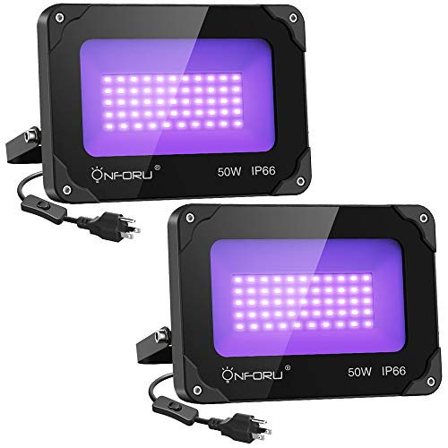 Onforu 2 Pack 50W LED Black Lights, Blacklight Flood Light with Plug, IP66 , Blacklight for Dance Party, Glow in The Dark, Stage Lighting, Aquarium, Body Paint, Fluorescent Poster, Neon Glow
