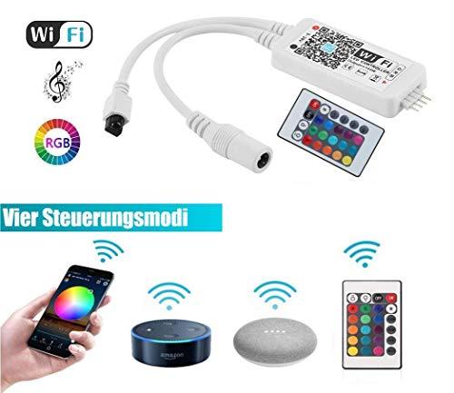 WLAN Controller für LED Strip von GoKlug, Sync mit Musik, 16 Mio Farben steuerbar via App, Amazon Alexa, Google Home,IFTTT, dimmbar Wireless Smart RGB LED Strip Kit Leiste Band Magic Home App