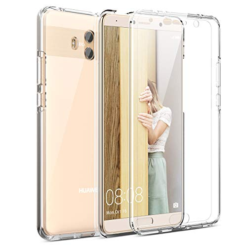 Winhoo Funda para Huawei Mate 10 360 Grados Full Body de Protección Silicona TPU Carcasa con Protector de Pantalla Compatible con Carga Inalámbrica Cover - Trasparente