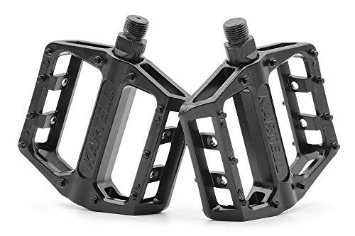 """Kartell ® Plattform MTB Fahrradpedale mit Gleitlager-Technologie für Mountainbike, BMX, Dirt Jumping & E-Bike Paar, 9/16"""" Gewinde, schwarz"""