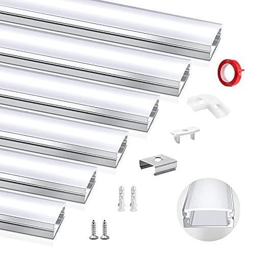 HOMMAND 6 x 1m/3,3ft LED Profil U-Form, LED Leiste Profil und Diffusor, LED Streifen Kanal mit Eckverbinder, Klebstoff, Endkappen, und Montageclips, LED Aluminium Profil 6m