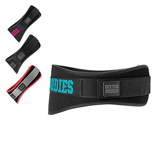 Better Bodies Gym Belt - Rückengurt - Rücken-Gürtel - Kraftgürtel für Kraft- & Fitness-Sport - für Damen und Herren, Größe:XS, Farbe:aqua/schwarz