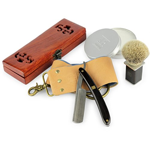 A.P. Donovan Rasoio a mano libera | Rasoio barba a mano | Assemblato Razor barber con strop e pasta abrasiva | Rasatura (Damast) (Salute e Bellezza)