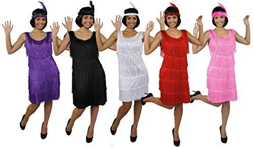 ILOVEFANCYDRESS Disfraz DE Flapper Mujer - Vestido con Flecos DE LOS AÑOS 20 EN Negro con UN Tocado DE Lentejuelas DE Plumas A Juego DE LOS AÑOS 20 Charleston - Talla: Grande (EUR 42/44)