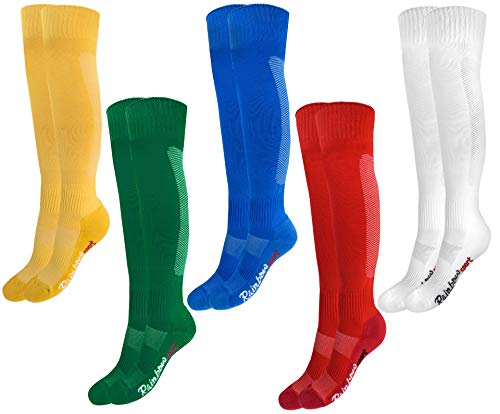 Rainbow Socks - Niño Niña Calcetines Fútbol Largos - 5 Pares - Amarillo Verde Azul Rojo Blanco - Talla 30-35